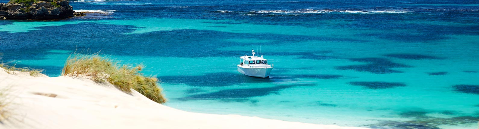 A boat moored near the amazing Rottnest Island.