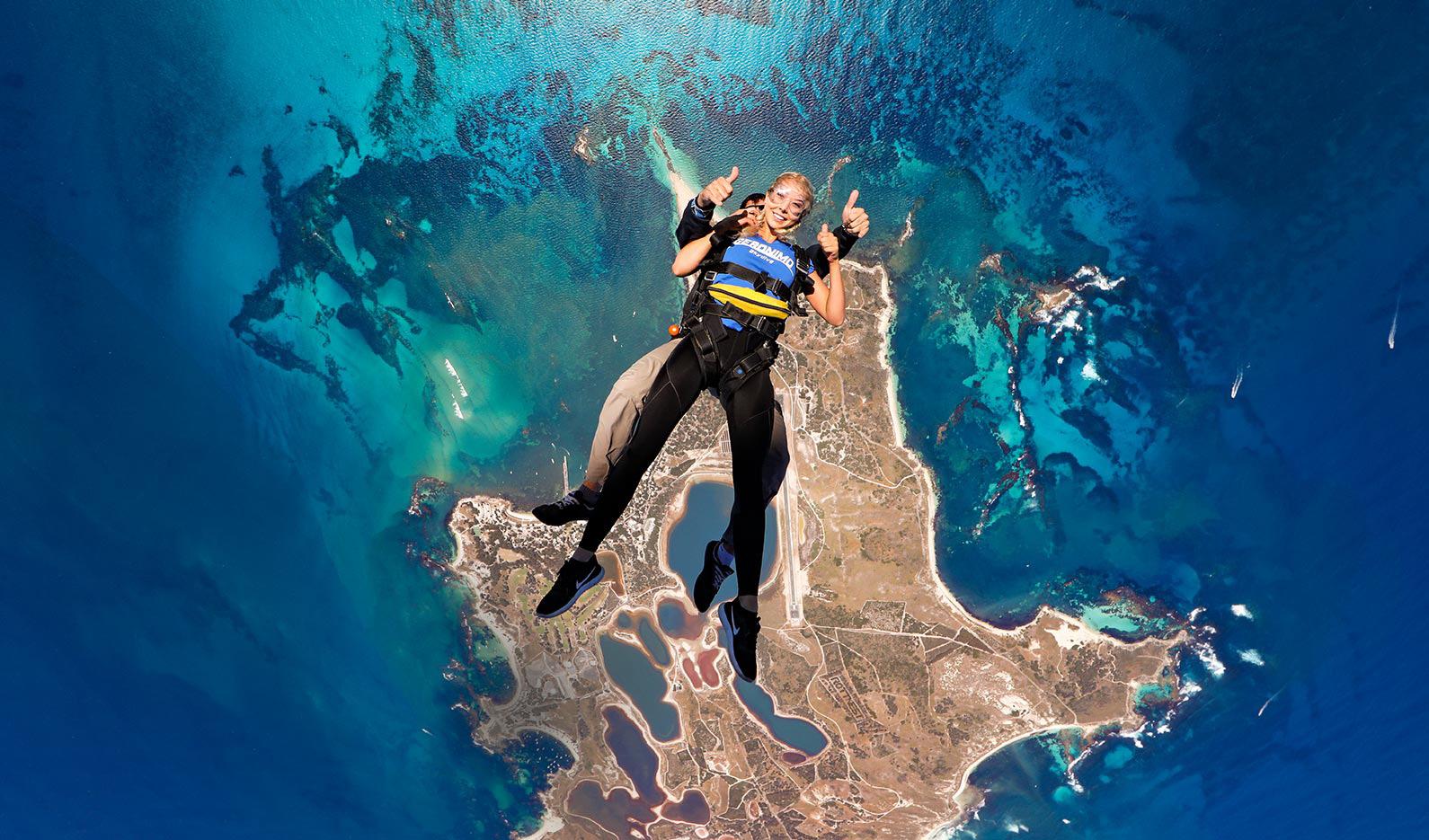 Skydiving over Rottnest Island