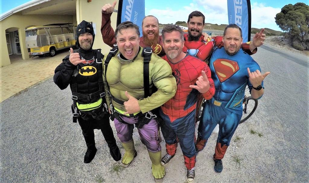 Skydiving Dads dressed as superheroes