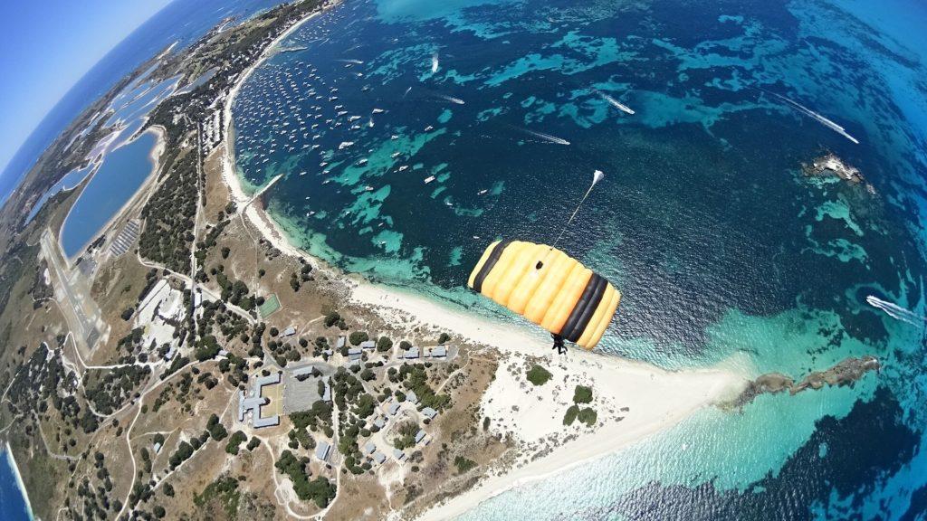 Parachute before landing on Rottnest Island