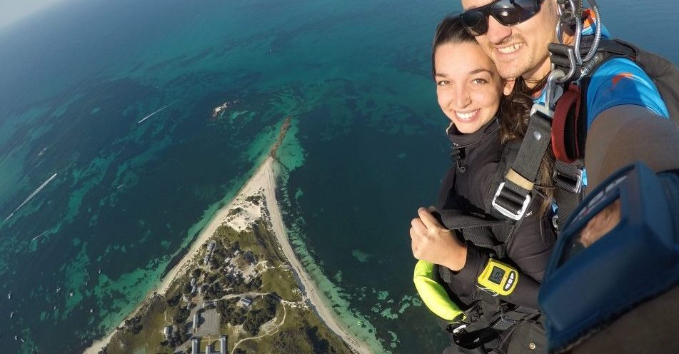 Ariel image looking down at rottnest as skydive down